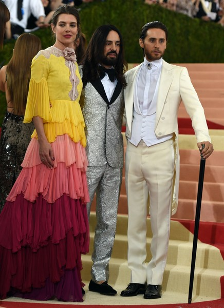 'Manus x Machina: Fashion in an Age of Technology' Costume Institute Gala [manus x machina: fashion in an age of technology costume institute gala,clothing,fashion,yellow,red carpet,suit,event,dress,carpet,flooring,formal wear,alessandro michele,princess charlotte casiraghi,jared leto,r,c,monaco,italian,new york,l]