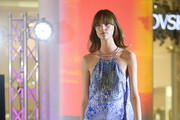 Model Nicole Pollard walks the runway during the 'Chase the Sun' Fashion Showcase at Indooroopilly Shopping Centre on September 3, 2015 in Brisbane, Australia.