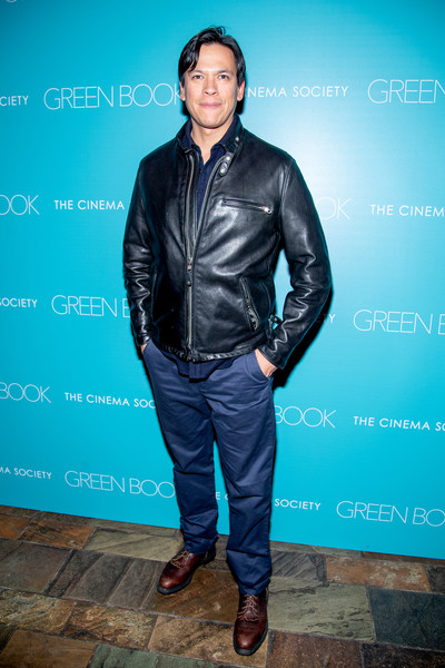 """Green Book"" New York Special Screening [green book,leather,blue,clothing,jacket,leather jacket,fashion,textile,electric blue,outerwear,footwear,chaske spencer,new york city,the roxy hotel cinema,cinema society,new york special screening]"