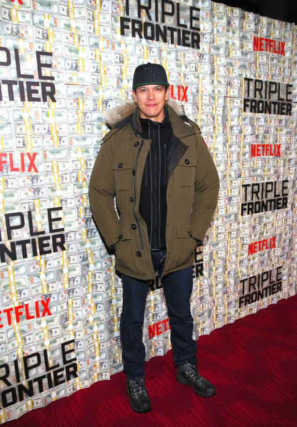 Netflix World Premiere of 'TRIPLE FRONTIER' [carpet,premiere,flooring,jacket,outerwear,cool,street fashion,chaske spencer,netflix world premiere,triple frontier,lincoln center,new york city]