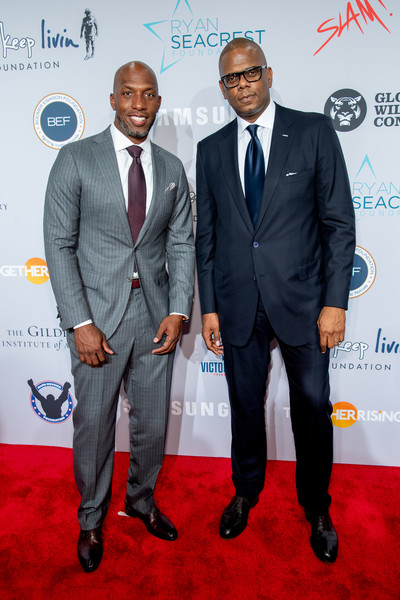2018 Samsung Charity Gala [suit,carpet,red carpet,event,formal wear,premiere,white-collar worker,tuxedo,award,flooring,chauncey billups,jon platt,charity gala,the manhattan center,new york city,samsung,samsung charity gala]
