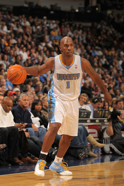 Los Angeles Lakers v Denver Nuggets [photograph,basketball,player,sports,basketball moves,basketball player,basketball court,ball game,sport venue,tournament,chauncey billups,user,user,note,ball,terms,denver,los angeles lakers,denver nuggets]