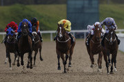 Paul Hanagan riding Gabrial's Kaka (R) win The Betfred Download The Mobile App Spring Cup at Chelmsford racecourse on April 16, 2016 in Chelmsford, England.