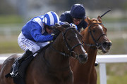 Paul Hanagan riding Tasleet (L) win The Betfred World Snooker Starts Today Greenham Stakes from Knife Edge (R) at Chelmsford racecourse on April 16, 2016 in Chelmsford, England.