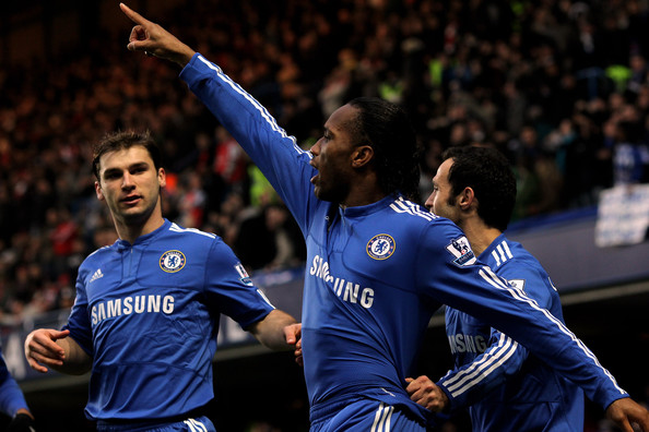 Didier Drogba of Chelsea celebrates scoring the first goal of