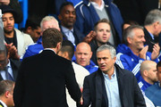 Jose Mourinho Manager of Chelsea and Tim Sherwood Manager of Aston Villa shake hands after the Barclays Premier League match between Chelsea and Aston Villa at Stamford Bridge on October 17, 2015 in London, England.