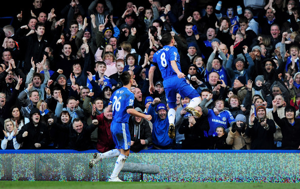 Frank Lampard (R) of Chelsea celebrates scoring the opening goal with team mate John Terry during the FA Cup sponsored by E.on Quarter Final match between Chelsea and Stoke City at Stamford Bridge on March 7, 2010 in London, England.