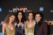 "(L-R) Micaela Diamond, Stephanie J. Block, Teal Wicks, and Jarrod Spector pose at ""The Cher Show"" Broadway Opening Night - After Party at Pier 60 on December 03, 2018 in New York City."