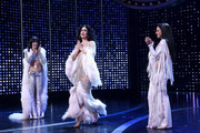 "(L-R) Micaela Diamond, Stephanie J. Block, and Teal Wicks pose onstage at ""The Cher Show"" Broadway Opening Night at Neil Simon Theatre on December 03, 2018 in New York City."