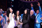 "Stephanie J. Block (L) and Cher perform onstage with the cast of ""The Cher Show"" at ""The Cher Show"" Broadway Opening Night at Neil Simon Theatre on December 03, 2018 in New York City."
