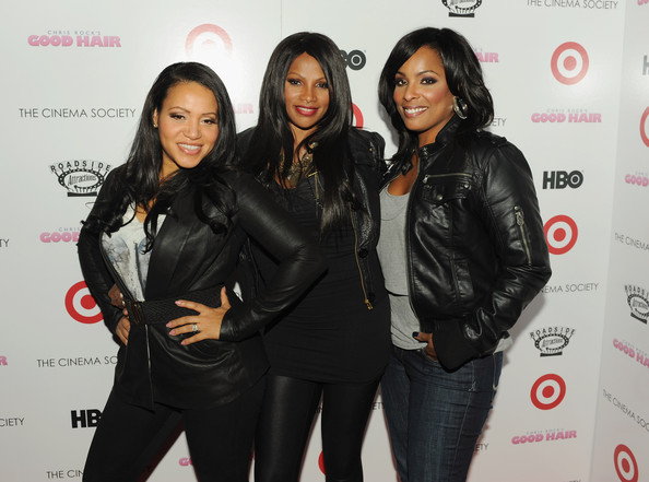 "Cinema Society & Target Host A Screening Of ""Good Hair"" - Arrivals [beauty,fashion,outerwear,flooring,event,material,jacket,leather jacket,product,girl,arrivals,cheryl ``salt james,sandy ``pepa denton,deidra ``spinderella roper,ifc center,new york city,cinema society target host a screening of ``good hair,the cinema society,target,screening]"