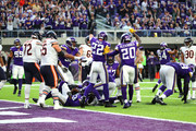 Harrison Smith #22 and Mackensie Alexander #20 of the Minnesota Vikings signal fourth down after holding the Chicago Bears on the goal line in the fourth quarter of the game on December 31, 2017 at U.S. Bank Stadium in Minneapolis, Minnesota.