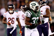 Running back Chris Ivory #33 of the New York Jets reacts after a play against the Chicago Bears during a game at MetLife Stadium on September 22, 2014 in East Rutherford, New Jersey.