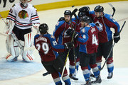 Ryan O'Reilly #90 of the Colorado Avalanche celebrates his goal against goalie Antti Raanta #31 of the Chicago Blackhawks with Nathan MacKinnon #29, Tyson Barrie #4, Matt Duchene #9 and Erik Johnson #6 of the Colorado Avalanche to give the Avlanche a 3-1 lead in the third period at Pepsi Center on March 12, 2014 in Denver, Colorado. The Avalanche defeated the Blackhawks 3-2.
