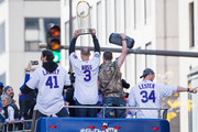 John Lackey #41, David Ross #3, Travis Wood #37 and Jon Lester #34 of the Chicago Cubs celebrate during the 2016 World Series victory parade on November 4, 2016 in Chicago, Illinois. The Cubs won their first World Series championship in 108 years after defeating the Cleveland Indians 8-7 in Game 7.
