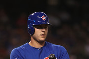 Anthony Rizzo #44 of the Chicago Cubs at bat against the Arizona Diamondbacks during the first inning of the MLB game at Chase Field on September 18, 2018 in Phoenix, Arizona.