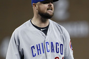 Jon Lester #34 of the Chicago Cubs reacts after pitching a ball to Victor Martinez  of the Detroit Tigers during the sixth inning at Comerica Park on August 22, 2018 in Detroit, Michigan. Lester managed to get Martinez to fly out to foul territory. The Cubs defeated the Tigers 8-2.