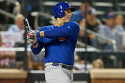 Anthony Rizzo #44 of the Chicago Cubs follows through on a sixth inning RBI single against the New York Mets at Citi Field on June 2, 2018 in the Flushing neighborhood of the Queens borough of New York City.