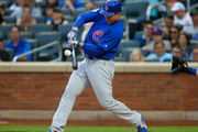 Anthony Rizzo #44 of the Chicago Cubs connects on a base hit in the first inning against the New York Mets at Citi Field on June 2, 2018 in the Flushing neighborhood of the Queens borough of New York City.