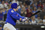 Anthony Rizzo #44 of the Chicago Cubs hits an RBI double during the ninth inning of a baseball game against the San Diego Padres at PETCO Park on July 13, 2018 in San Diego, California.