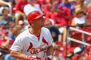 Matt Holliday #7 of the St. Louis Cardinals hits a solo home run in the fourth inning against the Chicago Cubs at Busch Stadium on August 31, 2014 in St. Louis, Missouri.