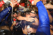 John Lackey #41 and Jon Lester #34 of the Chicago Cubs celebrate after winning the National League Central title against the St. Louis Cardinals at Busch Stadium on September 27, 2017 in St. Louis, Missouri.