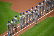 Anthony Rizzo #44 of the Chicago Cubs gets introduced during Opening Day against the Miami Marlins at Marlins Park on March 29, 2018 in Miami, Florida.