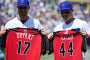 Kris Bryant #17 of the Chicago Cubs and Anthony Rizzo #44 pose for a photo with their All Star jersey's before the game against the Chicago White Sox on July 10, 2015 at  Wrigley Field in Chicago, Illinois.