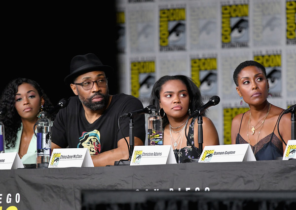 Comic-Con International 2018 - 'Black Lightning' Special Video Presentation And Q&A [event,youth,fiction,comics,news conference,convention,costume,talent show,performance,nafessa williams,cress williams,christine adams,china anne mcclain,special video presentation,q a,l-r,san diego convention center,california,comic-con international]
