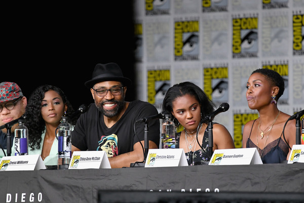 Comic-Con International 2018 - 'Black Lightning' Special Video Presentation And Q&A [event,fiction,talent show,news conference,comics,performance,media,cress williams,nafessa williams,christine adams,china anne mcclain,marvin krondon jones,special video presentation,q a,l-r,san diego convention center,comic-con international]