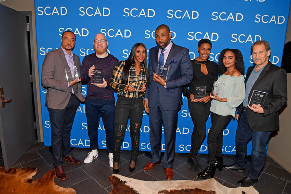 SCAD aTVfest 2018 -  'Black Lightning' [social group,event,community,stage equipment,technology,team,employment,electronic device,collaboration,world,marvin ``krondon jones iii,damon gupton,nafessa williams,cress williams,christine adams,china anne mcclain,james remar,black lightning,georgia,scad atvfest]