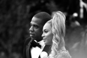 """Image has been converted to black and white.) Jay-Z and Beyonce Knowles attend the """"China: Through The Looking Glass"""" Costume Institute Benefit Gala at Metropolitan Museum of Art on May 4, 2015 in New York City."""