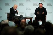 Chinese artist and activist Ai Weiwei (R) speaks at the Council of Foreign Relations, November 2, 2016 in New York City. Weiwei is in New York for four large gallery shows in the month of November. Three of the shows feature tree-inspired sculptures and the fourth will feature clothing from refugee camps that Weiwei visited.