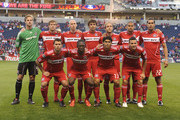 Members of the Chicago Fire pose for a starting 11 team photo before a match against the Chivas USA on May 1, 2010 at Toyota Park in Brideview, Illinois. Back Row, L-R: Andrew Dykstra #40, Brian McBride #20, Tim Ward #5, Baggio Husidic #9, Justin Mapp #21, C.J. Brown#2, Krzysztof Krol #23, and Wilman Conde #22. Front Row, L-R: Peter Lowry #8,Patrick Nyarko #14, Deris Umanzor #13, and Marco Pappa #16.