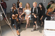 Miss J. Alexander, Julie Mintz, Danielle Savre,  Derek Warburton and Susan Chen attend the Chocheng front row during New York Fashion Week: The Shows at Gallery II at Spring Studios on September 10, 2018 in New York City.