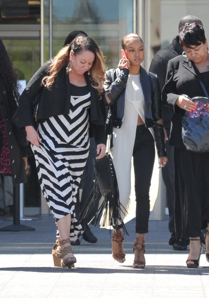 Joyce Hawkins and Karrueche leave the H. Carl Moultrie 1 Courthouse after it was announced the start of Chris Brown's assault trial is to be pushed back to Wednesday on April 21, 2014 in Washington, DC.