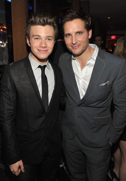 """The Hollywood Foreign Press Association And InStyle Celebrate """"A Night of Firsts"""" And The New Miss Golden Globe 2012 Season [season,suit,formal wear,tuxedo,event,white-collar worker,premiere,tie,outerwear,blazer,smile,actors,peter facinelli,chris colfer,the new miss golden globe,hollywood foreign press association and instyle celebrate,instyle,the hollywood foreign press association,l,a night of firsts]"""
