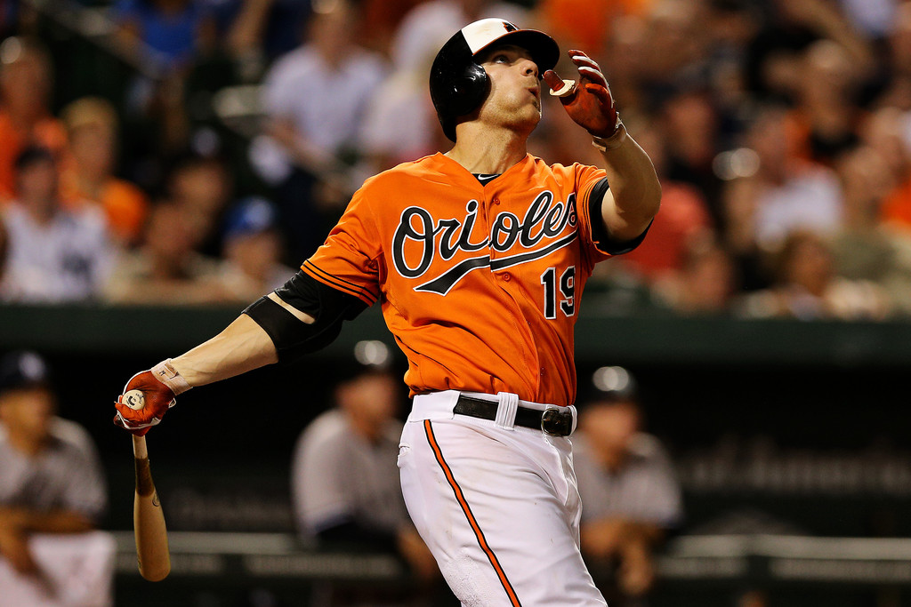 Chris Davis #19 of the Baltimore Orioles hits a two-run home run against the New York Yankees in the sixth inning at Oriole Park at Camden Yards on June 29, 2013 in Baltimore, Maryland. The Baltimore Orioles won, 11-3.