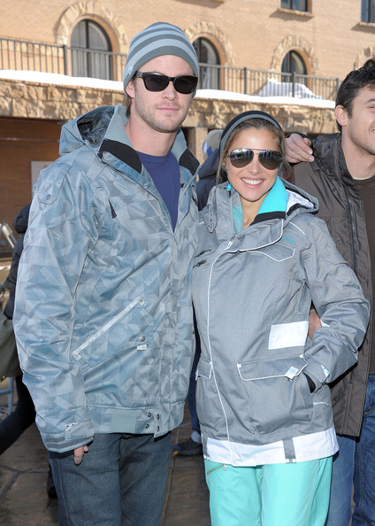 Chris Hemsworth Actors Chris Hemsworth (L) and Elsa Pataky attend Oakley Learn to Ride Fueled by Muscle Milk on January 23, 2011 in Park City, Utah.