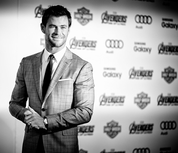 Premiere Of Marvel's 'Avengers: Age Of Ultron' - Arrivals [avengers: age of ultron,image,suit,white-collar worker,businessperson,photography,font,black-and-white,formal wear,style,monochrome,smile,chris hemsworth,arrivals,dolby theatre,california,hollywood,marvel,premiere,premiere]