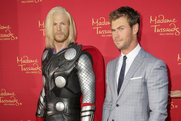 "Chris Hemsworth Madame Tussauds Hollywood Bring Figures For ""Avengers: Age Of Ultron"" Premiere"
