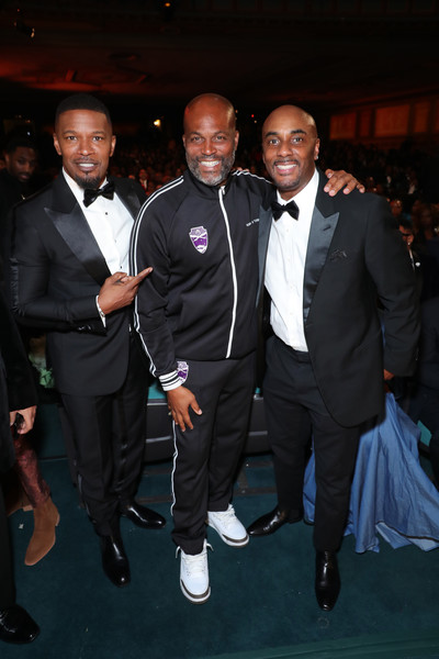 BET Presents The 51st NAACP Image Awards - Show [suit,formal wear,tuxedo,event,fashion,tie,outerwear,blazer,premiere,white-collar worker,guest,jamie foxx,chris spencer,bet presents the 51st naacp image awards,l-r,pasadena civic auditorium,california,bet,show,tuxedo,fashion design,blazer,fashion,socialite,public relations,tuxedo m.,talent agent,celebrity,design]