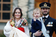 (L-R)  Prince Gabriel of Sweden, Duke of Dalarna held by Princess Sofia of Sweden and Prince Carl Philip holding Prince Alexander, Duke of Sodermanland leave the chapel after the christening of Prince Gabriel of Sweden at Drottningholm Palace Chapel on December 1, 2017 in Stockholm, Sweden.