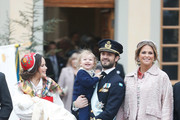 (L-R) Prince Gabriel of Sweden, Duke of Dalarna held by Princess Sofia of Sweden and Prince Carl Philip holding Prince Alexander, Duke of Sodermanland and Princess Madeline of Sweden after the christening of Prince Gabriel of Sweden at Drottningholm Palace Chapel on December 1, 2017 in Stockholm, Sweden.