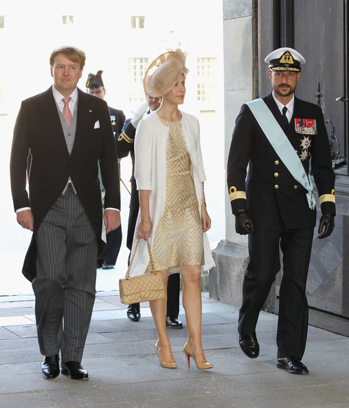 Crown Prince Willem-Alexander of the Netherlands, Crown Princess Mary of Denmark and Crown Prince Haakon of Norway attend the christening of  new Swedish heir to the throne Princess Estelle Silvia Ewa Mary of Sweden at The Royal Palace on May 22, 2012 in Stockholm, Sweden.