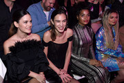 Rachel Bilson, Alexa Chung, Indya Moore, and Zhavia Ward sit front row during the Christian Siriano Fall Winter 2020 NYFW at Spring Studios on February 06, 2020 in New York City.