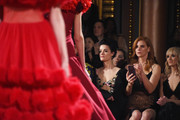Actors Jaimie Alexander and Sarah Rafferty attend the Christian Siriano fashion show during New York Fashion Week at Grand Lodge on February 10, 2018 in New York City.