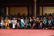 (L-R) Ioni James Conran, Coco Rocha, Laverne Cox, Whoopi Goldberg, Meg Ryan, Molly Shannon, Cardi B, Brad Walsh, Jaimie Alexander, Sarah Rafferty, Nastia Liukin and Patricia Field attend the Christian Siriano fashion show during New York Fashion Week at Grand Lodge on February 10, 2018 in New York City.