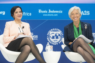 Christine Lagarde IMF And World Bank Heads Hold Press Conferences At Start Of IMF/World Bank Mtgs