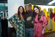 Lynn Scotti, Pharrell Williams and Phebe Wahl attend the Christofle's and Manhattan Magazine's Celebration The Art Of Sharing with Pharrell Williams on September 29, 2019 in New York City.